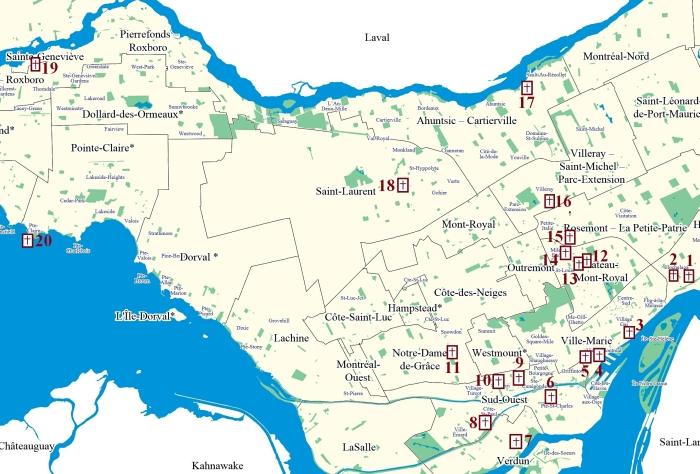 carte des clochers a Montreal
