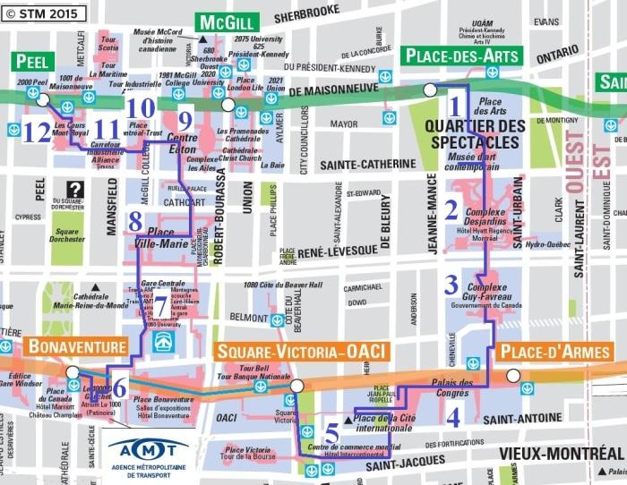 carte Montreal Souterrain