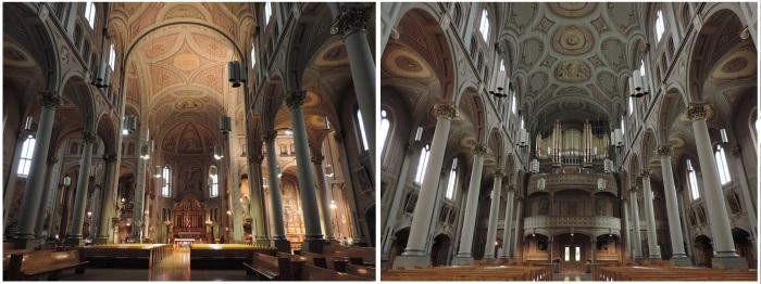 avant et arrière de l'église du Gesù