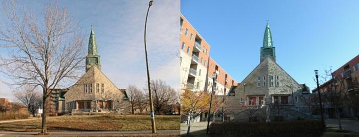 photo avant la transformation: © Conseil du patrimoine religieux du Québec, Inventaire des lieux de culte du Québec (www.lieuxdeculte.qc.ca) / photo après: Mes Quartiers
