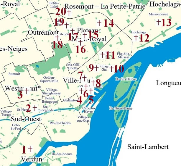 carte des interieurs d'eglises a Montreal