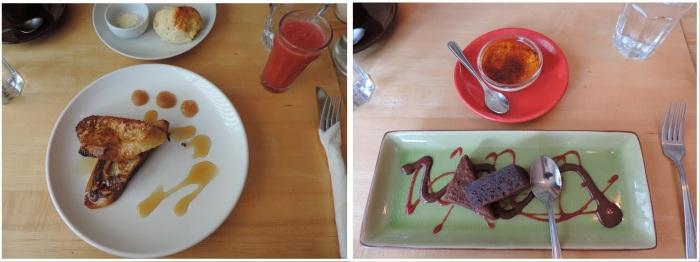 À gauche: le pain doré au sirop d'érable (entrée). À droite: crème brûlée et brownie (desserts)