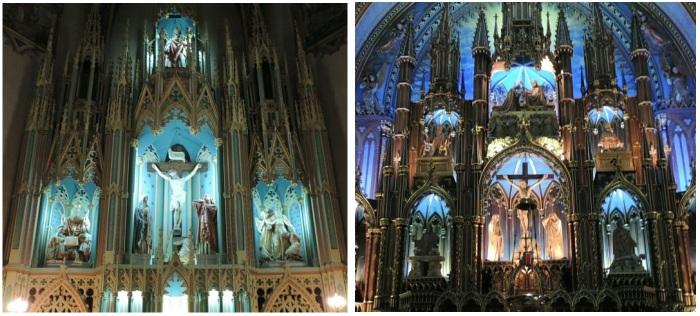 L'église Saint-Édouard à gauche, la Basilique Notre-Dame à droite.