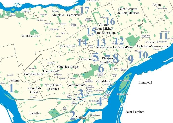 map 95 bancs de ruelle a Montreal